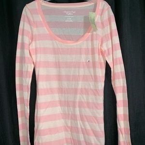NWT American Eagle pink striped long sleeve